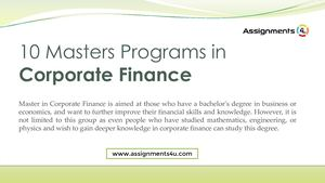 Top 10 Masters Programs In Corporate Finance