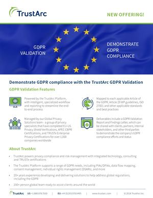 TrustArc GDPR Validation to demonstrate GDPR compliance