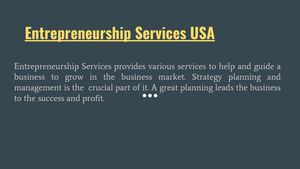 Entrepreneurship Services USA