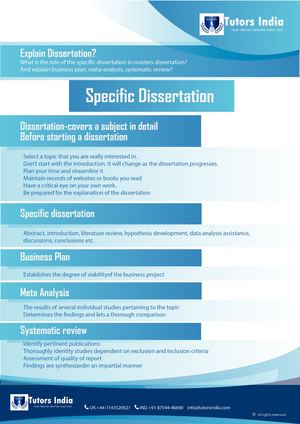 Explain Dissertation? What Is The Role Of The Specific Dissertation In Masters Dissertation And Explain Business Plan, Meta Analysis, Systematic Review?