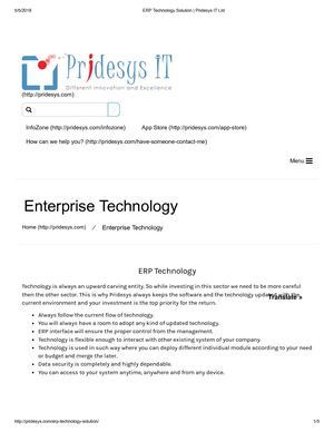 ERP Technology Solution | Pridesys IT Ltd