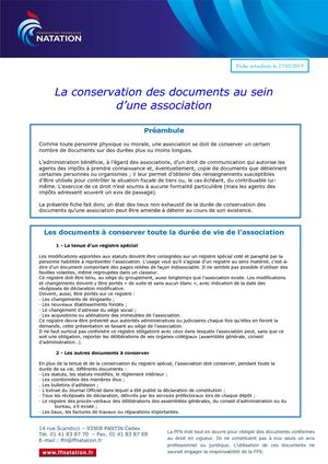 Conservation Des Documents Au Sein D'une Association