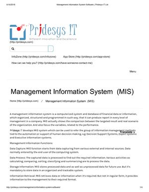 Management Information System Software | Pridesys IT Ltd