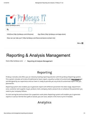 Management Reporting And Analysis | Pridesys IT Ltd