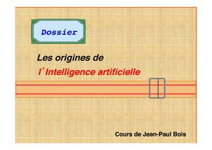 "Support de Cours. "" Les origines de L'Intelligence Artificielle""."