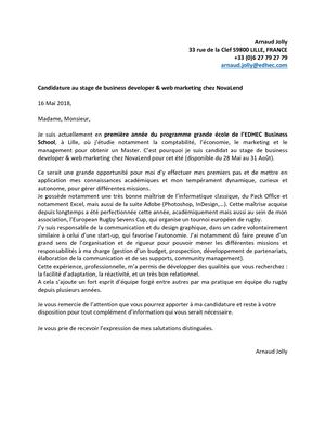 Lettre De Motivation Nova Lend Arnaud Jolly