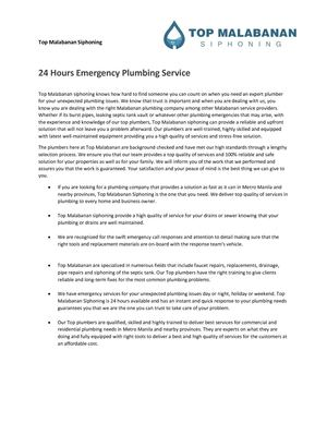 24 Hours Emergency Plumbing Service