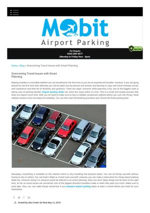 Overcoming Travel Issues With Smart Planning Mobit Airport Parking