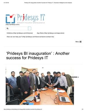 Pridesys BI Inauguration Another Success for Pridesys IT | Business Intelligence and Analytics