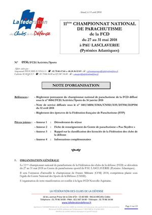 Note Organisation Championnat National De Parachutisme 2017 2018
