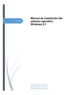Manual De Instalación Del Sistema Operativo Windows 8 1