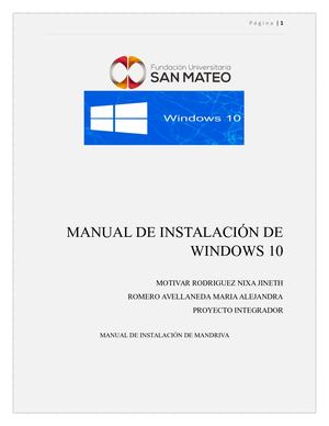 Manual Instalacion Windows 10