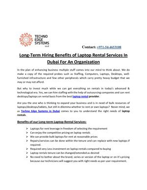 Long-Term Hiring Benefits of Laptop Rental Services In Dubai For An Organization