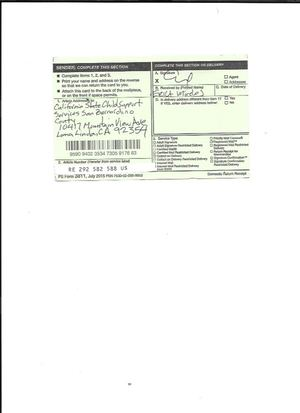 Statutory Claim Registered Mail to California State Department of Child Support Services, San Bernardino County for Hania Etu El