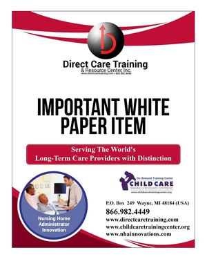 White Paper Specialized Direct Care Worker Curriculum W State Manual 2016
