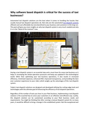 Why Software Based Dispatch Is Critical For The Success Of Taxi Businesses