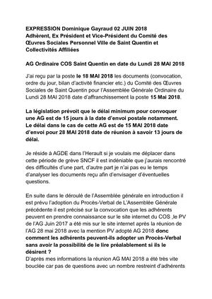 Expression Dominique Gayraud 02 Juin 2018 Ag Ordinaire Cos Saint Quentin En Date Du Lundi 28 Mai 2018