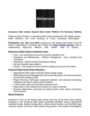 Unisecure Data Centers Expand Data Center Platform For Business Stability