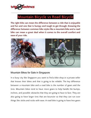 Mountain Bicycle Vs Road Bicycle