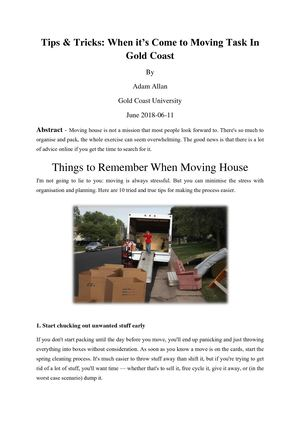 Tips & Tricks When It's Come To Moving Task In Gold Coast