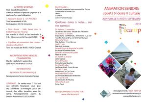 Programme d'animation Senior Juin - septembre 2018