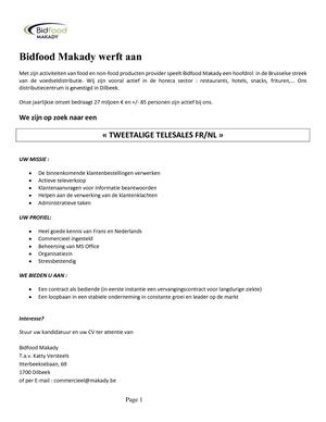 Annonce Telesales NL MAKADY