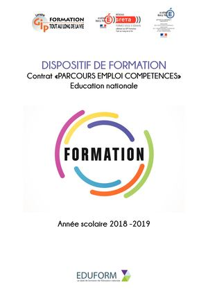 Catalogue DISPOSITIF DE FORMATION Contrat «PARCOURS EMPLOI COMPETENCES» Education nationale