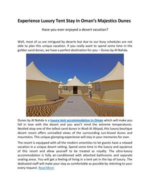 Experience Luxury Tent Stay In Oman