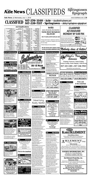 July 11, 2018 Classified Ads