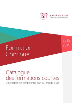 ISIT - Catalogue Formation Continue Courte 2018 - 2019
