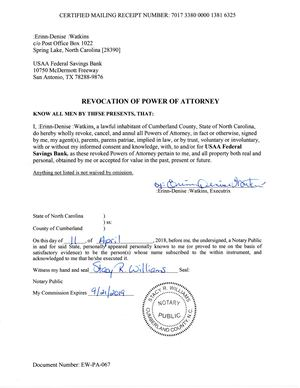 Revocation Of Power Of Attorney USAA