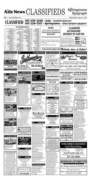 August 1 Classified Ads