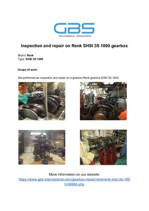Inspection And Repair On Renk SHSI 3S 1000 Gearbox