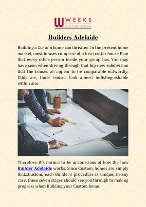 Weeks Builders Adelaide - Builders Melbourne