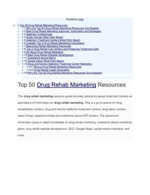 Top 50 Drug Rehab Marketing Resources