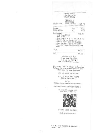 USPS Post Office Box Receipt of 8-22-2018