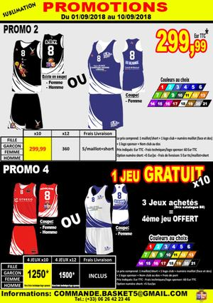 COMMANDE MAILLOTS BASKETBALL SOUS 15 jours