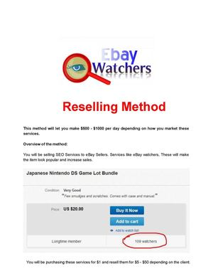 Ebay Watchers Reselling - Make $500 - $1000 per day method