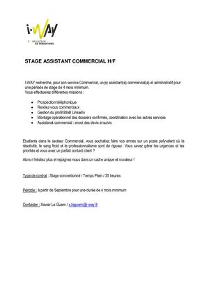 Stage Assistant Commercial Iway