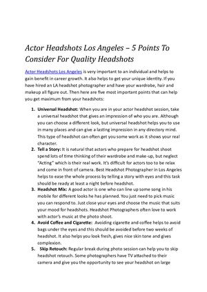 Actor Headshots Los Angeles – 5 Points To Consider For Quality Headshots