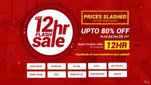Furniture 12HR Flash Sale Up To 80% + Extra 5% Off | On All Furniture
