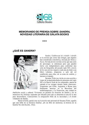 Dossier Sandra Galata Books