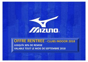 Offre Rentree Clubs Indoor 2018 - MIZUNO