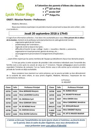 Réunion Parents Profs 2nde Et 3ème Du 20 09 18 à L'attention Des Parents