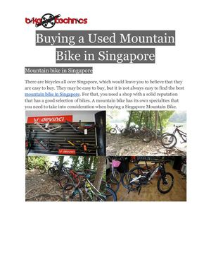 Buying A Used Mountain Bike In Singapore