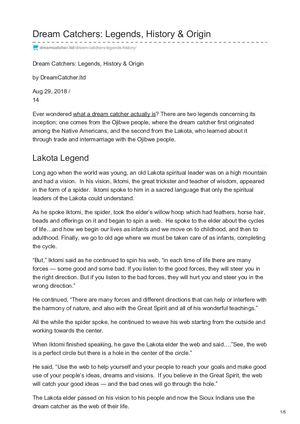 History Of Dream Catchers Impressive Calaméo Dreamcatcher Ltd Dream Catchers Legends History Origin