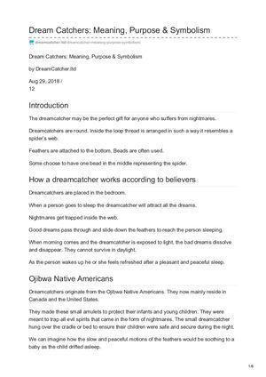 Calaméo Dreamcatcher Ltd Dream Catchers Meaning Purpose Symbolism Best The Purpose Of Dream Catchers