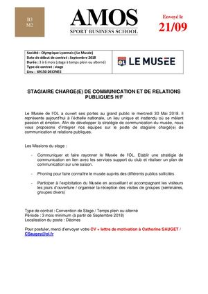 Offre Stage Musee Ol