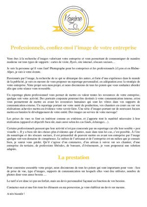 K.A. Photographie Corporate - Plaquette Professionnels