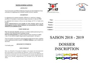 Dossier Inscription Judo 2018 2019